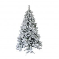 Aleko 8 ft. Unlit Flocked Artificial Christmas Tree with Green Metal Stand