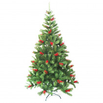 Aleko 6 ft. Unlit Artificial Christmas Tree with Cranberry Clusters