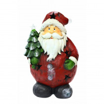 Alpine 16 in. Santa Holding Tree Statue with 4 Color Changing LED Lights
