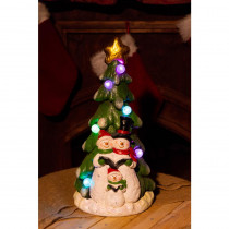 Alpine 17 in. H Snowman Under Christmas Tree with LED