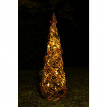Alpine 24 in. Rattan and Berry Christmas Cone Tree with 20 LED Lights