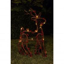 Alpine 21 in. H Christmas Rattan Light-up Reindeer Decor