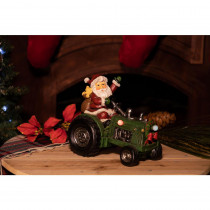 Alpine 9 in. Santa on Tractor Decor with 3 LED Lights - Color Changing