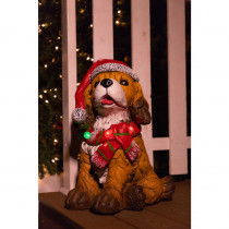 Alpine 21 in. Dog Wearing Santa Hat and Red Scarf Decor with 3 LED Lights