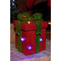 Alpine Red Giftbox Statue with Color Changing Led Lights-Tm