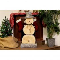 Alpine Wooden Snowman Statue
