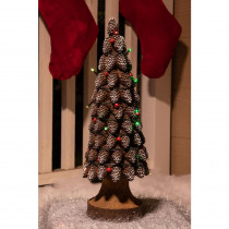Alpine 19 in. Pine Cone Tree Statue with LED Lights - TM