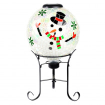 Alpine Corporation 17 in. Tall Solar Mosaic Snowman Gazing Globe with Metal Stand and 10 LEDs
