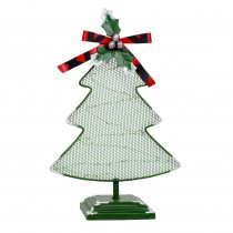 Alpine Corporation 11 in. Tall Christmas Tree Table Decor with White LED Light