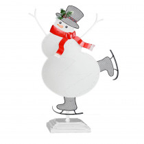 Alpine Corporation 11 in. Tall Christmas Snowman Table Decor with LED Light