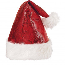 Amscan 15 in. x 11 in. Santa Sequin Christmas Hat (2-Pack)