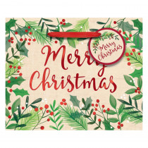 Amscan 4.5 in. x 5.5 in. x 2.75 in. Christmas Merry Holly Day Hot Stamped Paper Small Horizontal Bag (24-Pack)