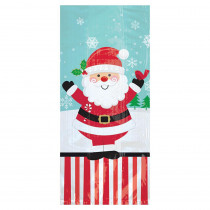 Amscan 11.5 in. x 5 in. x 3.25 in. Christmas Jolly Santa Cello Large Party Bag (20-Count 5-Pack)