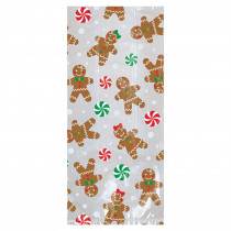 Amscan 9.5 in x 4 in. x 2 in. Christmas Gingerbread Cello Small Party Bag (20-Count 7-Pack)