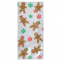Amscan 11.5 in. x 5 in. x 3.25 in. Christmas Gingerbread Cello Large Party Bag (20-Count 5-Pack)