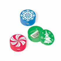 Amscan Red, Green and Blue Christmas Pencil Sharpeners (12-Count, 4-Pack)