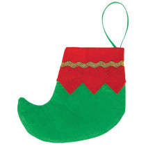 Amscan 4.5 in. Felt Mini Elf Red and Green Christmas Stockings with Gold Trim (6-Count, 4-Pack)