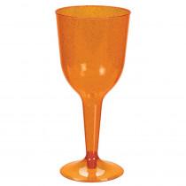 Amscan 3 in. x 6.75 in. 10 oz. Orange Glitter Plastic Halloween Wine Glasses