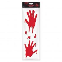 Amscan 21 in. x 6.5 in. Halloween Bloody Hands Gel Clings (4-Pack)