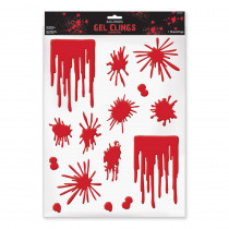 Amscan Halloween Blood Splats and Drips Gel Clings (3-Pack)