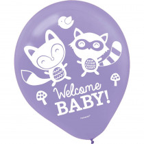 Amscan 12 in. Blue Woodland Welcome Baby Shower Latex Balloons (15-Count, 5-Pack)