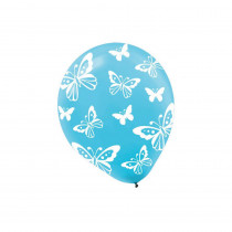 Amscan 12 in. Blue Butterfly Print Latex Balloons (6-Count, 9-Pack)