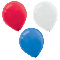 Amscan 12 in. Red, White and Blue Latex Balloons (72-Count, 2-Pack)
