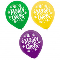 Amscan 12 in. Mardi Gras Green, Purple and Gold Latex Balloons (15-Count, 3-Pack)