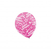 Amscan 12 in. Bright Pink Birthday Confetti Latex Balloons (6-Count, 9-Pack)