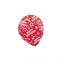 Amscan 12 in. Red Birthday Confetti Latex Balloons (6-Count, 9-Pack)