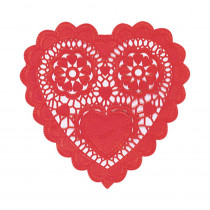 Amscan 10 in. Valentine's Day Red Paper Heart Shaped Doilies (12-Count, 6-Pack)
