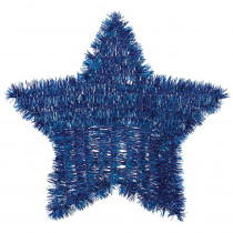 Amscan 11.5 in. x 12 in. Blue Tinsel Star Decoration (6-Pack)