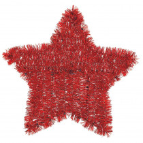 Amscan 11.5 in. x 12 in. Red Tinsel Star Decoration (6-Pack)