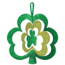 Amscan 11.5 in. x 12 in. St. Patrick's Day Green MDF Shamrock Spinning Sign (5-Pack)