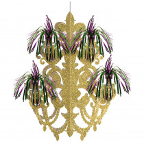 Amscan 20.5 in. Mardi Gras Green, Purple and Gold Foil Firework Chandelier Decoration