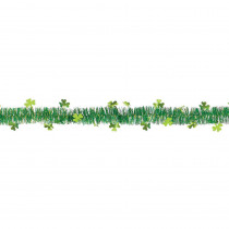 Amscan 1.75 in. x 9 ft. St. Patrick's Day Green Tinsel Shamrock Garland (7-Pack)