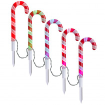 APPLights 18.11 in. LED Candy Cane (RGB) Pathway Stakes (Set of 5)