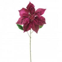 29 in. Christmas Velvet Poinsettia Flower Stems with Glitter, Color - Fuchsia (3-Set)