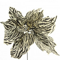 10 in. Christmas Unlit Silk Zebra Style Poinsettia Flower Stems Color - Gold and Black (6-Set)