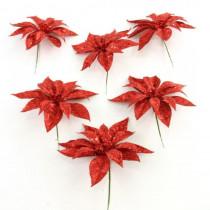 7 in. Christmas Unlit Glitter Poinsettia Flower Stem in Red (Set of 6)