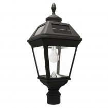 Gama Sonic Imperial Bulb Series Single Black Integrated Led Solar Post Light with 3 in. Fitter and GS Solar LED Light Bulb