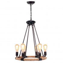 LNC 6-Light Black Rust Rope Chandelier