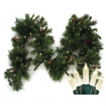Brite Star 9 ft. Pre-Lit LED Battery Operated Anchorage Fir Garland with Timer