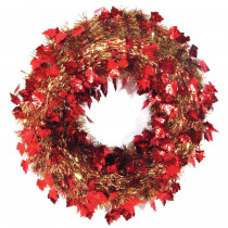Brite Star 20 in. Autumn Ochre Die-Cut Tinsel Artificial Wreath