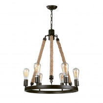 LNC 6-Light Bronze Rustic Rope Chandelier