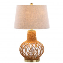 Joseph 28.5 in. Brown/Clear Glass/Rope LED Table Lamp