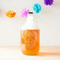 Cathy's Concepts 10.44 in. Sugar Skull 64 oz. Halloween Craft Beer Growler
