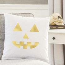 Cathy's Concepts Gold Jack O Lantern 16 in. L x 16 in. W Halloween Throw Pillow