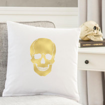 Cathy's Concepts 16 in. L x 16 in. W Gold Skull Halloween Throw Pillow