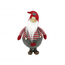 12 in. Red and Gray Striped Gilbert Chubby Standing Santa Gnome Plush Table Top Christmas Figure